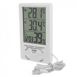 Ψηφιακό Υγρασιόμετρο Θερμόμετρο με Διπλό Αισθητήρα Θερμοκρασίας, Ρολόι και Ξυπνητήρι HTC-TA298